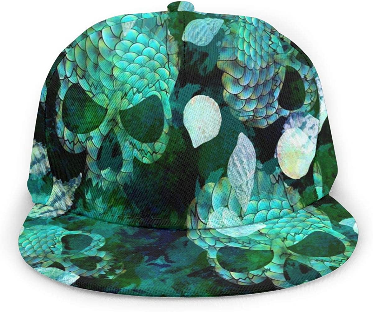Abstract Green Skull Mermaid Fish Scales Design Lightweight Unisex Baseball Caps Adjustable Breathable Sun Hat for Sport Outdoor