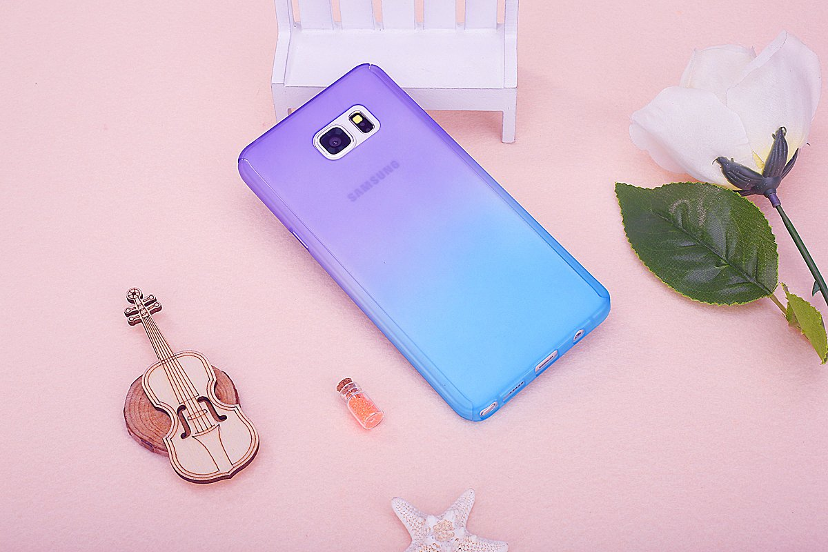 Galaxy Note 5 Case with Tempered Glass Screen Protector,PHEZEN 360 Front and Back Full Body Coverage Shockproof Hybrid Hard PC Armor Protective Case For Samsung Galaxy Note 5 (Gradient Purple Blue)