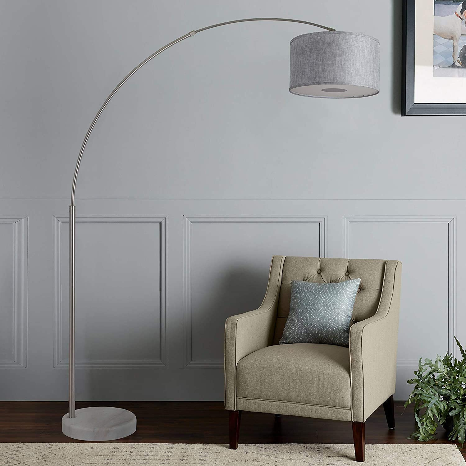 Large Steel Adjustable Arching Floor Lamp with Marble Base Grey Shade 81 H