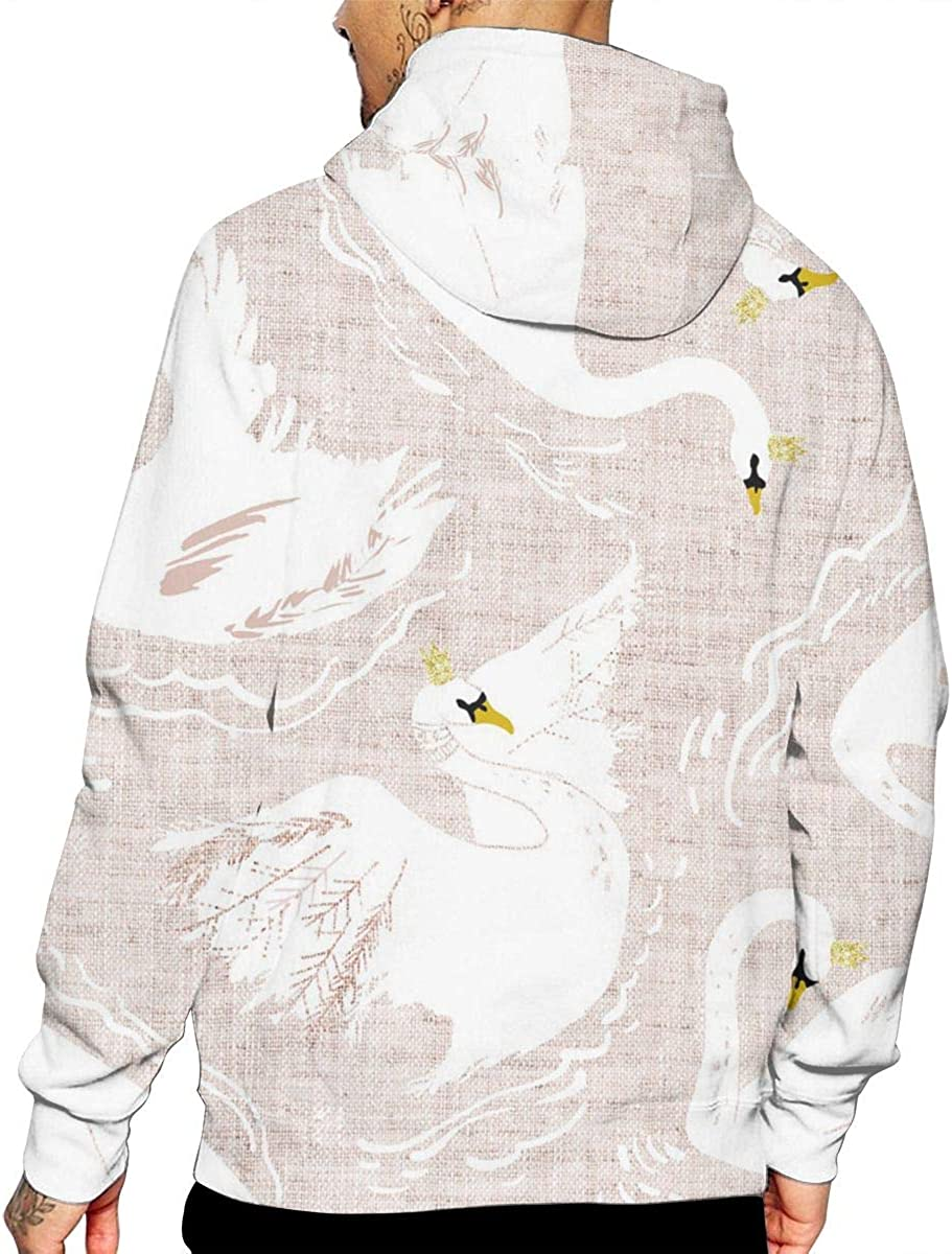 Swan T-Shirt Hooded with A Pocket Rope Hat Customization Fashion Novelty 3D Mens