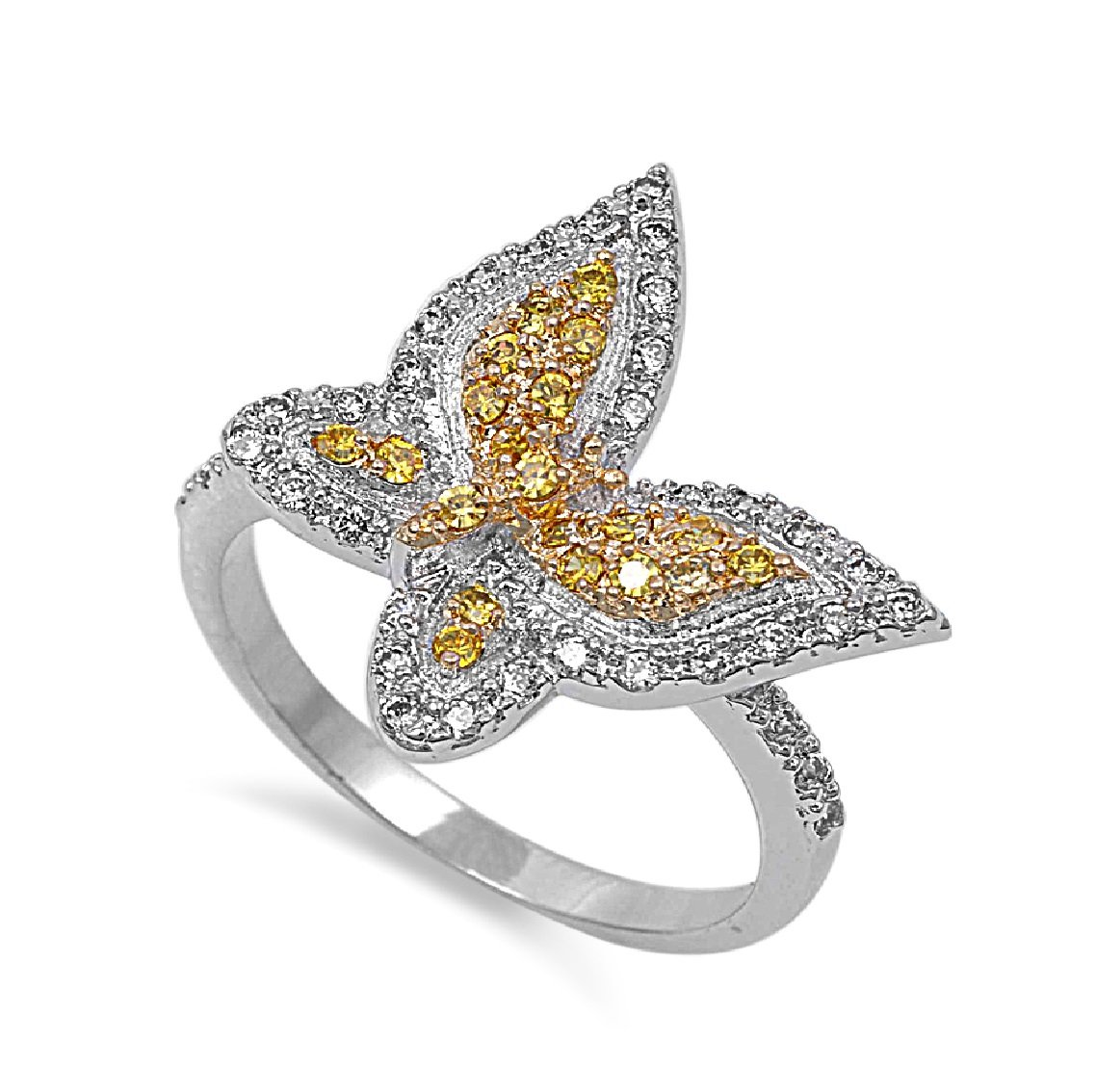 CloseoutWarehouse Clear Cubic Zirconia Adjustable Band Ring Yellow Gold-Tone Sterling Silver