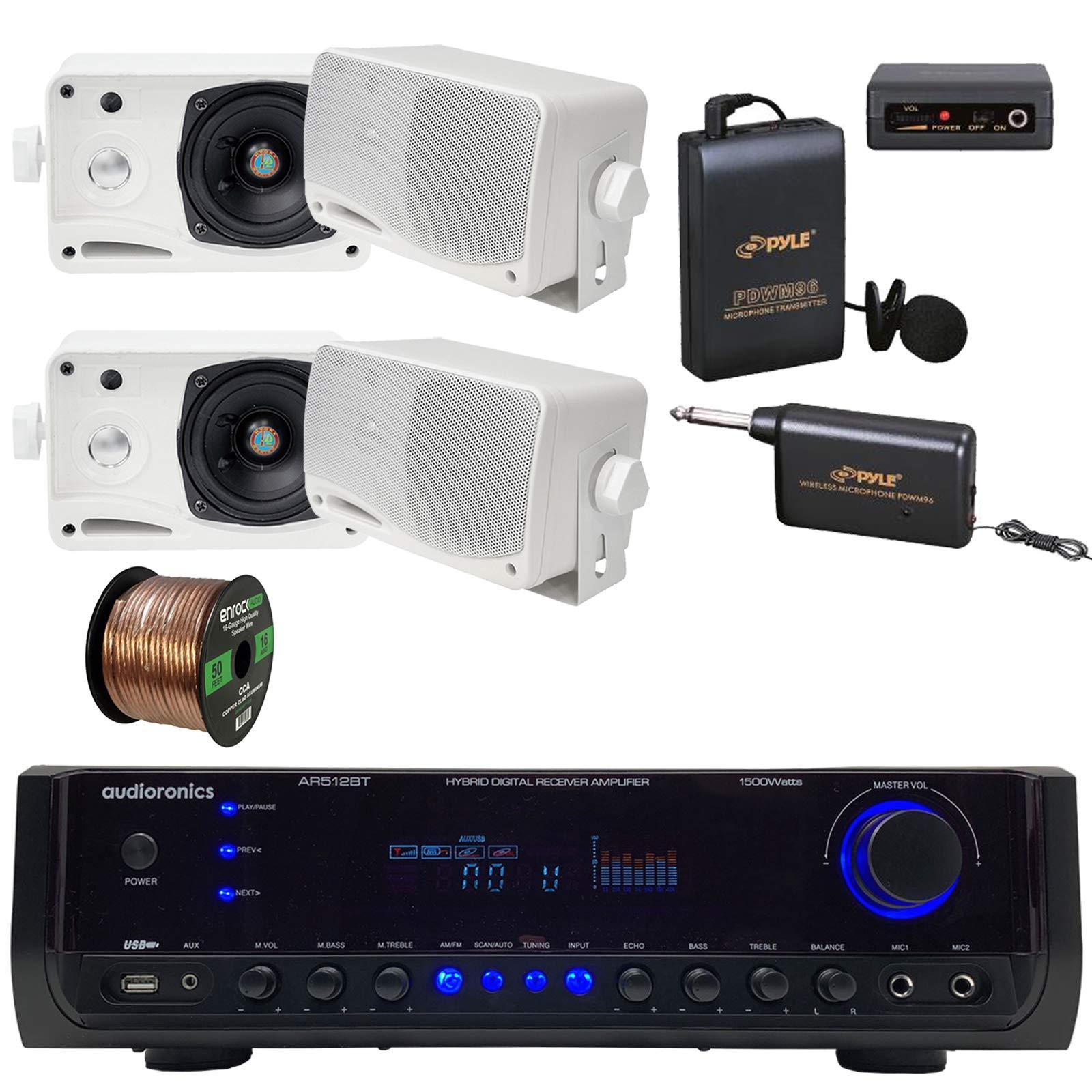 Audioronics 1500 Watt Hybrid Digital Stereo Receiver Amplifier, Pyle 3.5'' 200 Watt 3-Way Weather Proof Mini Box Speakers - White, Lavalier Wireless Microphone System, 16 Gauge 50 Foot Speaker Wire