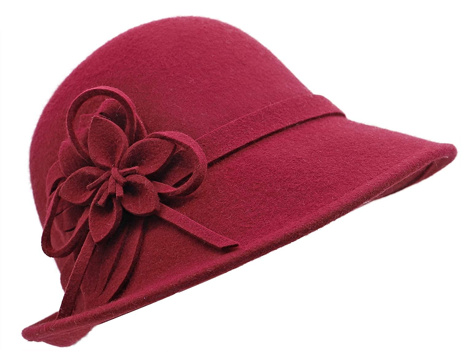 1920s Style Hats Bellady Women Solid Color Winter Hat 100% Wool Cloche Bucket with Bow Accent $21.99 AT vintagedancer.com