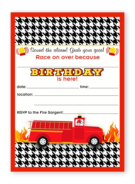 Amazon.com: Fireman Party Invitations - 10 Invitations 10 Envelopes ...