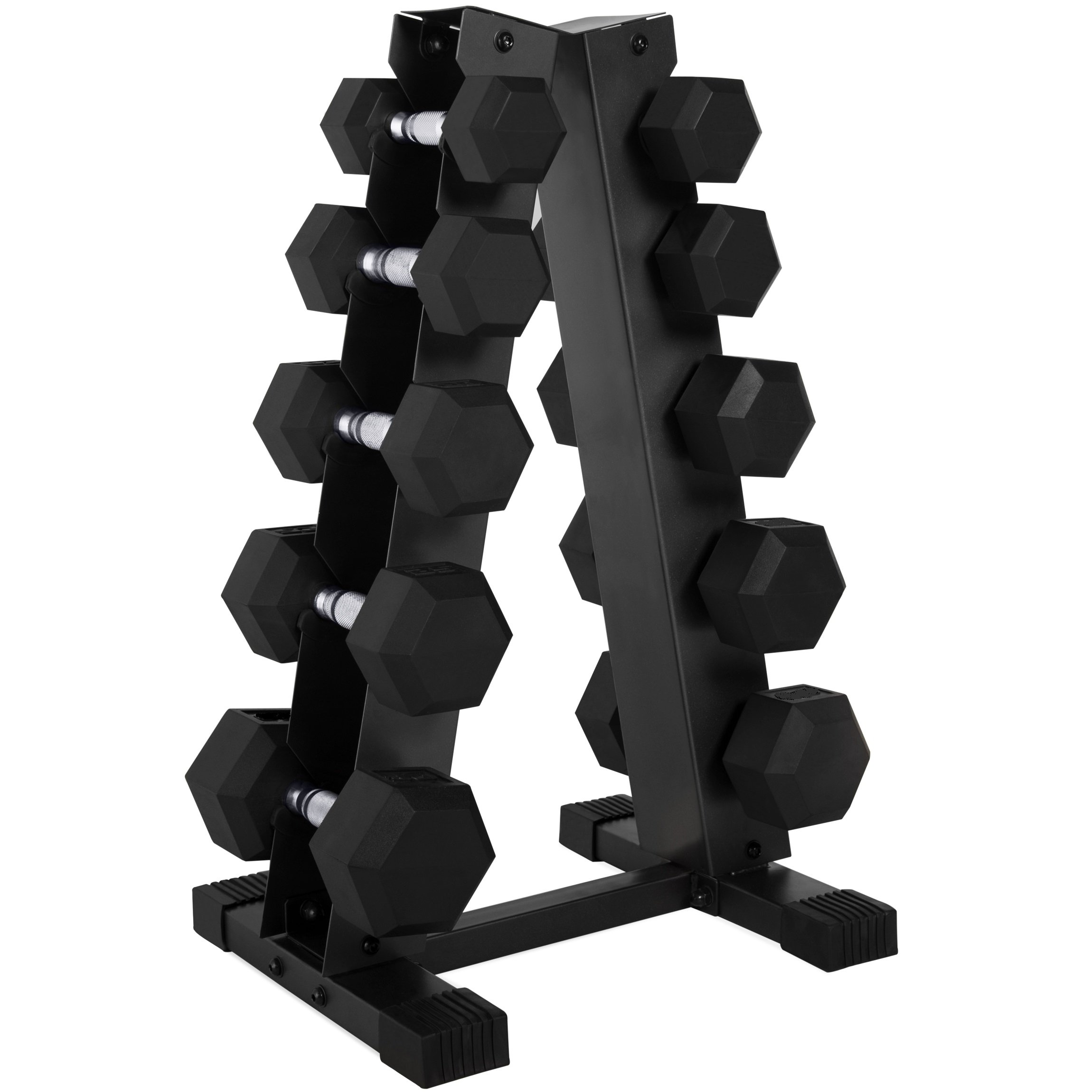 CAP 150-Pound Rubber Hex Dumbbell Weight Set, 5-25 Lbs with Rack by CAP Barbell