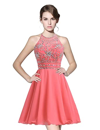 anmor Juniors Short Homecoming Dresses Beaded Bodice Chiffon Cocktail Prom Gowns Coral US16