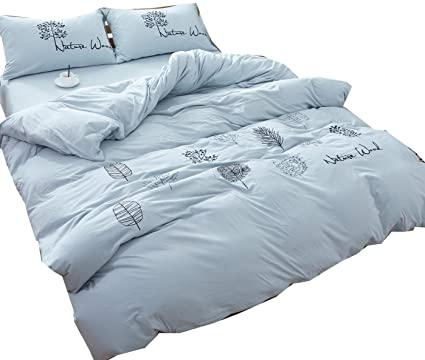5a0133f8c Image Unavailable. Image not available for. Color  Ningkotex Solid Dyed  4Pcs Cotton Jersey Knit Duvet Cover Set with ...