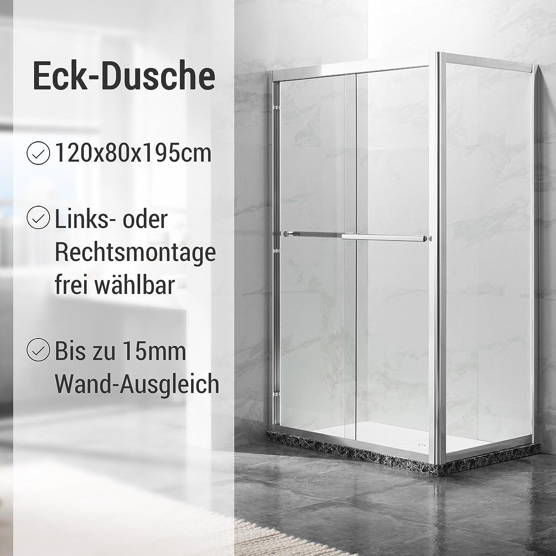 deluxes 192201 cabinas de ducha 120 x 80 x 195 cm, para esquina de ducha 6 – 8 mm Cristal de Seguridad con puerta corredera, aluminio de alta de perfil, sin plato