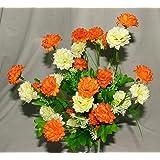 A1-Homes Ramo Artificial de crisantemos Color Naranja y Crema, 35 Flores