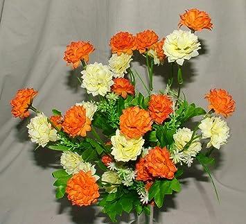 Gorgeous Artificial Silk Orange Cream Mini Chrysanthemum Mum