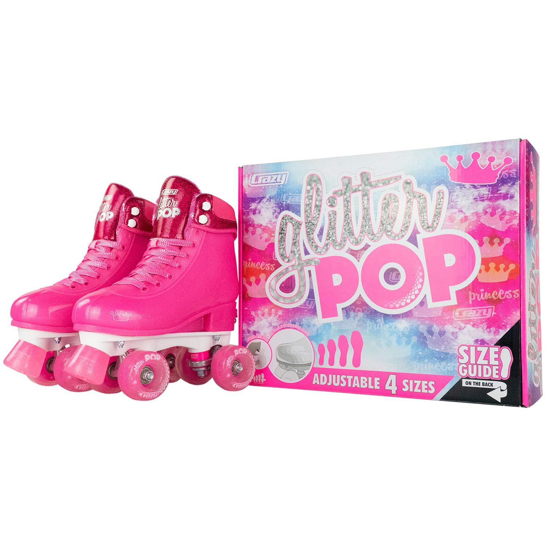 Amazon.com : Crazy Skates Glitter POP Adjustable Roller Skates for Girls and Boys | Size Adjustable Quad Skates That Fit 4 Shoe : Sports & Outdoors