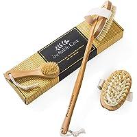 Körperbürste & Massagebürste - Trockenbürste für-Massage mit natürlichen Wildschweinborsten und Griff - Trockene Hautbürste, Naturborsten Rückenbürste, Rückenschrubber und Anti-Cellullite Bürste