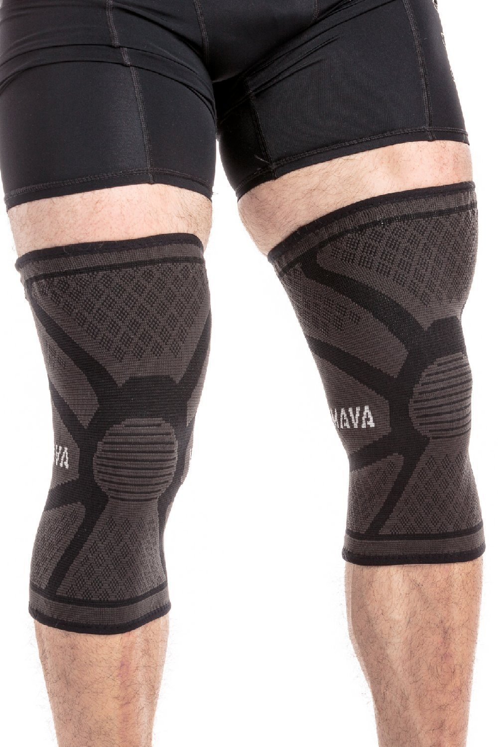 Mava Sports Knee Compression Sleeve Support, Pair (Black, Large)