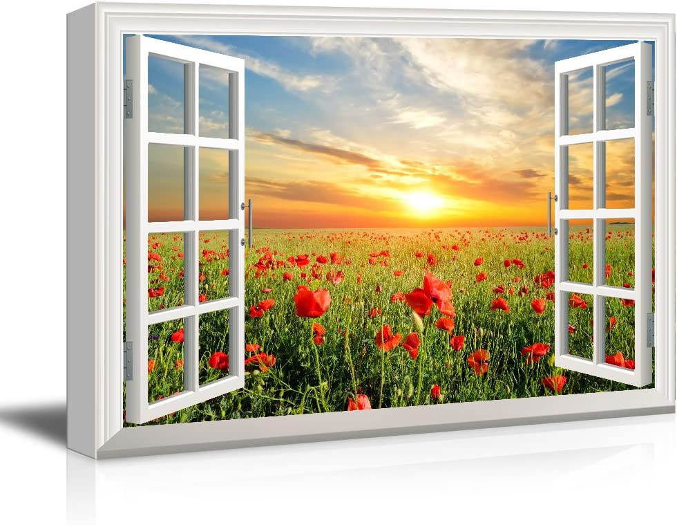 wall26 Window View Canvas Wall Art - Red Poppy Flower Field at Sunset - Giclee Print Gallery Wrap Modern Home Art Ready to Hang - 16x24 inches