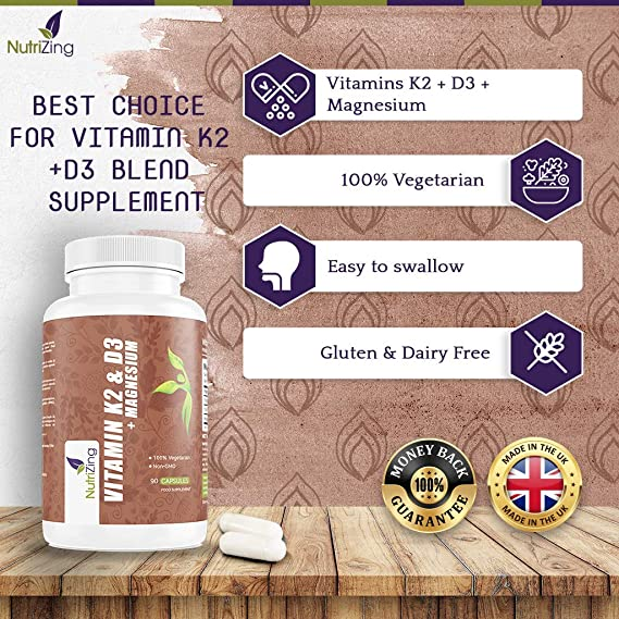 NutriZing Vitaminas K2, D3 y Magnesio ~ Fórmula Prémium de Alta Potencia ~ Vitamina D3 3000IU, Vitamina K2 MK-7 150mcg, Magnesio 20mg ~ Lo mejor Para Huesos ...