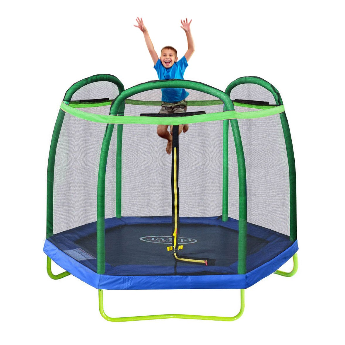 Clevr 7ft Kids Trampoline with Safety Enclosure Net & Spring Pad, 7-Foot Outdoor Round Bounce Jumper 84'' Indoor/Outdoor, Built-in Zipper Heavy Duty Frame, Green and Blue | Great Birthday Gift by Clevr (Image #6)