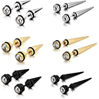 Cupimatch 6PCS Men's Stainless Steel Rhinestone Faux Illusion Stud Earrings Ear Plugs Tunnel Set