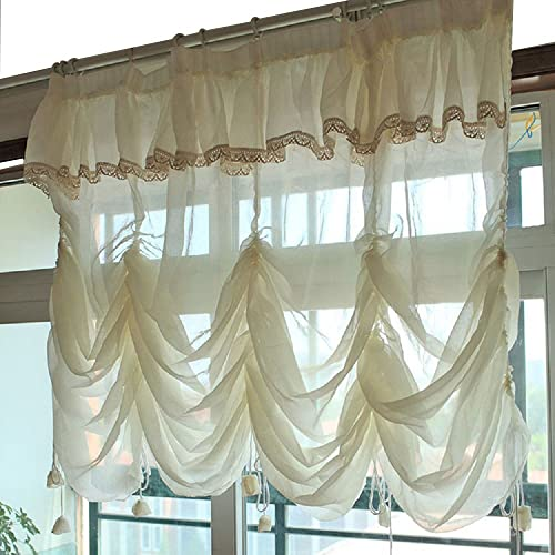 YOUSA Creamy White Balloon Curtains Sheer Curtain Lace Ruffle Tie-Up Roman Curtain Valance 110 W x 94 L