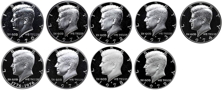 1970 1971 1972 1973 1974 1976 1977 1978 1979 S Kennedy Mint Proof Set of 9
