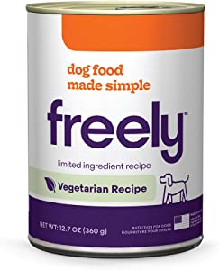 Freely Limited Ingredient Diet, Grain Free Dog Food, Natural Wet Food For Dogs, Adult Canned Dog Food Vegetarian, 12.7oz x 6 cans