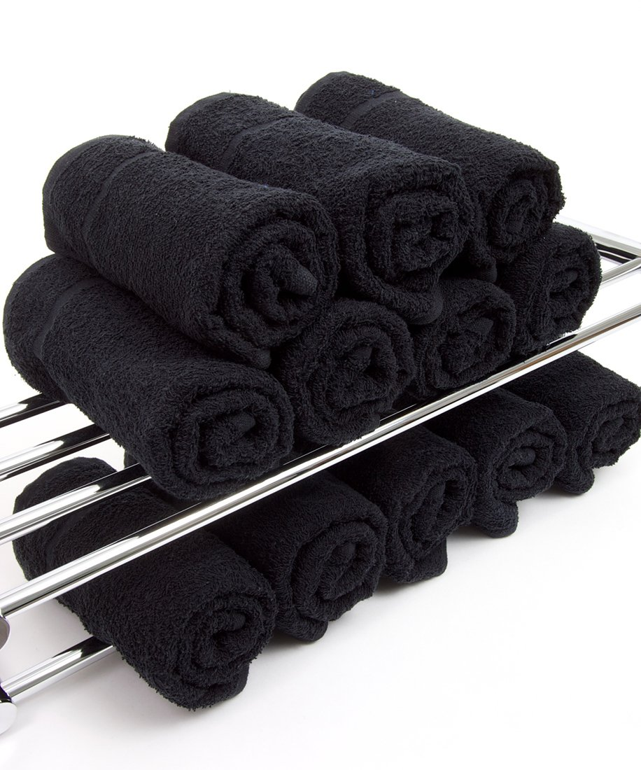 TowelsRus Hairdressing Towels in Black: 12 in a Pack, 400gsm 50cm x 85cm by Towelsrus