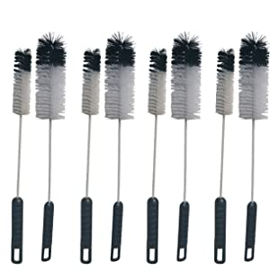 NewFerU Wire Bottle Cleaning Brush Set Small Large Thin Long Handle Utility Cleaner Bendable Flexible for Narrow Neck Skinny Spaces of Water Beer Wine Baby Bottles,Pipe,Tube,Flask,Decanter,Straw (8)
