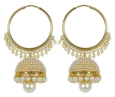 5059a63a6 Buy I Jewels Gold Plated Chandbali Pearl Jhumki Earrings for Women E2549W  Online at Low Prices in India   Amazon Jewellery Store - Amazon.in