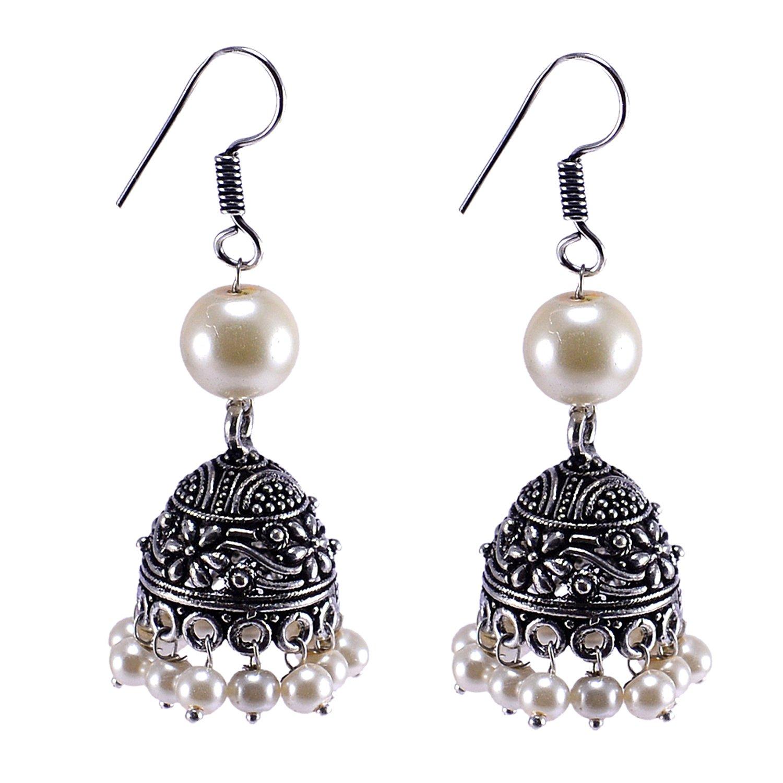 Silvestoo Jaipur Off White Pearl Gemstone Jhumka For Girls PG-119595