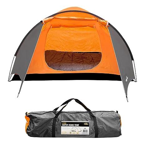 Milestone Camping Tienda súper iglú para Cuatro Personas Naranja ...
