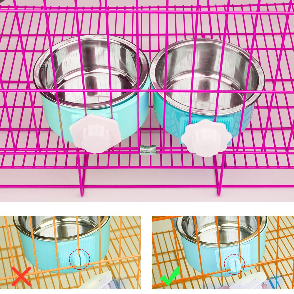 Amazon 5 stars Crate Dog Bowl, Stainless Steel Removable Hanging Food Water Bowl Cage Coop Cup for Dogs, Cats, Small Animals,14 oz by Amazon 5 stars (Image #5)