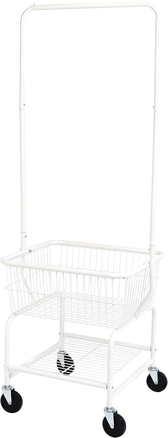AmazonBasics Laundry Hamper Basket Butler Cart with Wheels and Hanging Rack, White