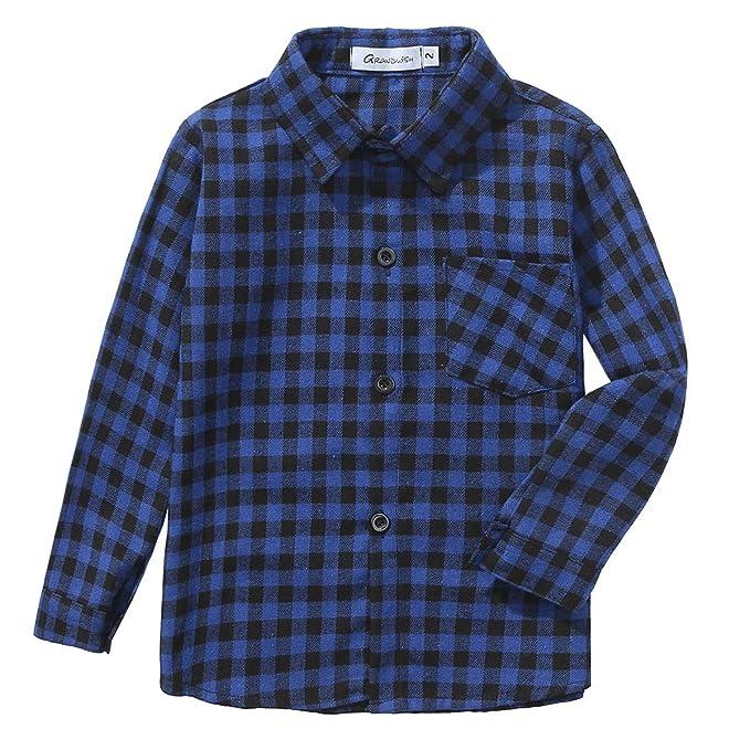 1766bb6b396c7 Grandwish Niño Camisas de Manga Larga a Cuadros para Niñas 2 Años - 12  Años  Amazon.es  Ropa y accesorios