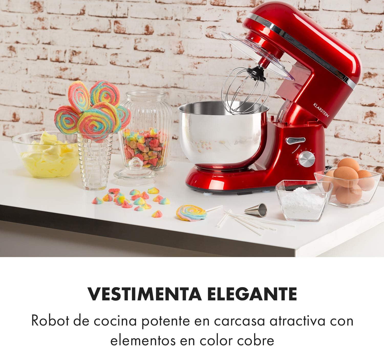Klarstein Bella Elegance - Robot de cocina, Potencia 1300W/1,7PS, 6 niveles, Función pulso, Sistema de amasado planetario, 5 L, Cuenco acero inoxidable, Inclinación, Bloqueo de seguridad, Rojo: Amazon.es: Hogar