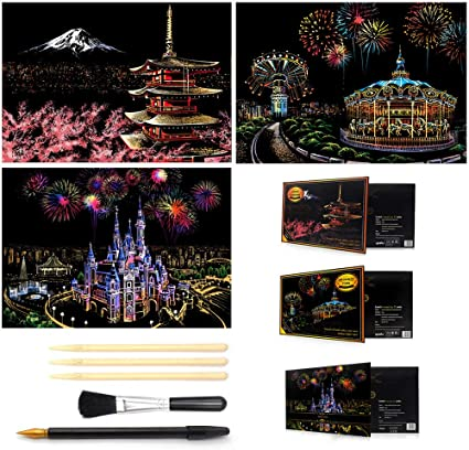 Scratch Paper Rainbow Painting Sketch Pads DIY Art Craft Night View Scratchboard for Kids /& Adults Mini Envelope Postcard Art Set Cherry blossoms/&fireworks 8 Sheets Scratch Art Cards with 3 Tools