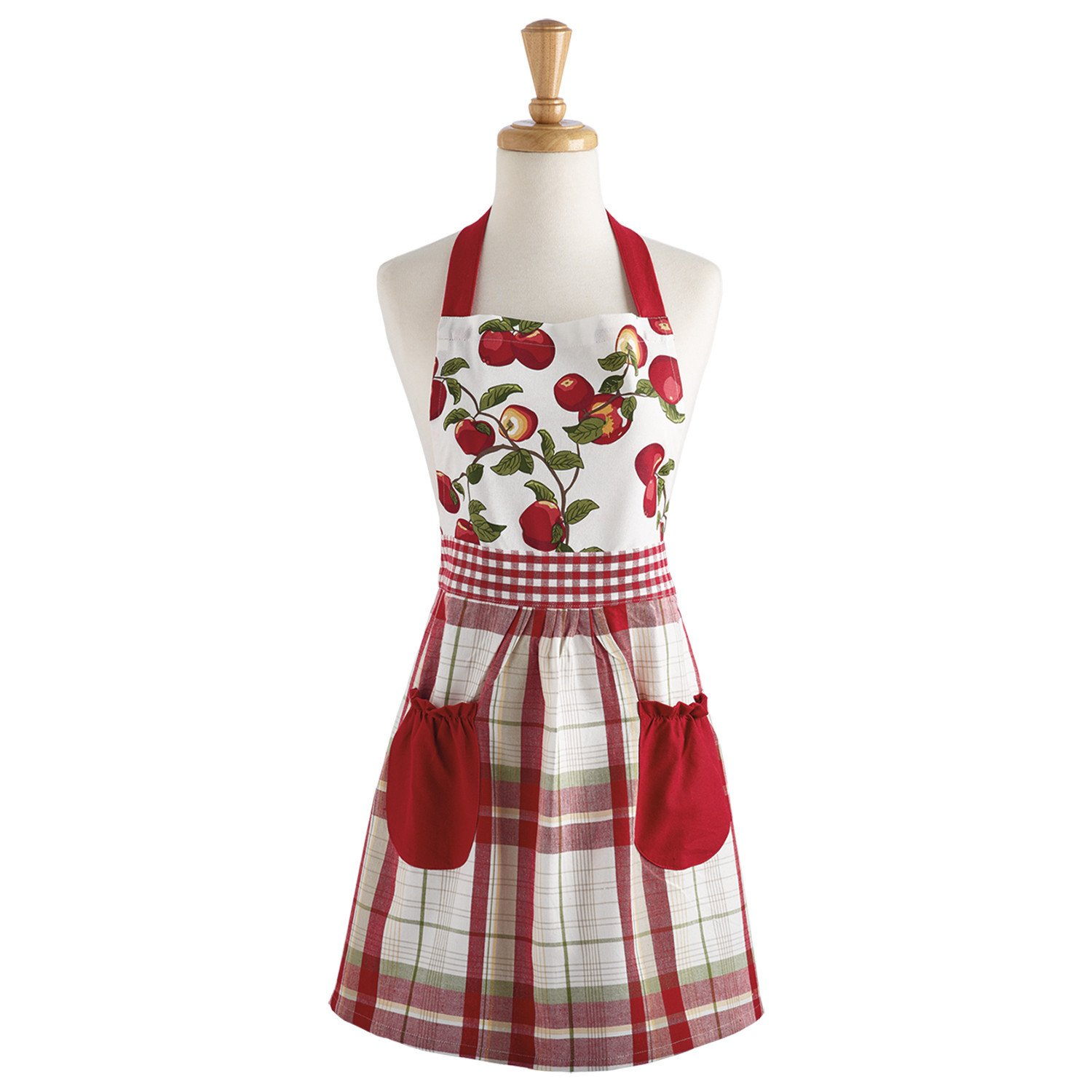 DII Design Imports Fall Apple Orchard Print and Plaid Cotton Apron