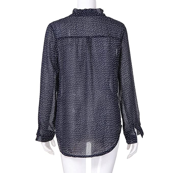 Women Autumn Blouse MITIY O Neck Long Sleeve Polka Dot Chiffon Top Casual Tops T-Shirt at Amazon Womens Clothing store:
