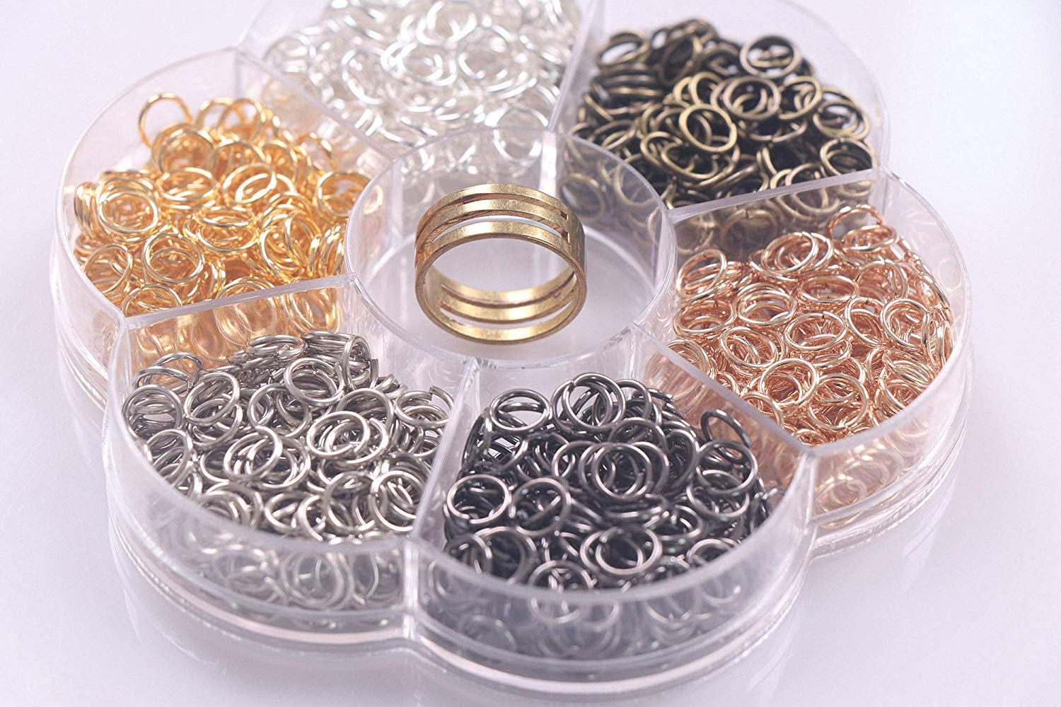 0.23//6mm YAKA1800Pcs 6mm1Box 6 Colors Open Jump Ring,Ring Jewelry Keychain for Jewelry Making Accessories,1Pcc Jump Ring Open//Close Tool and 1Pcs Clear Box
