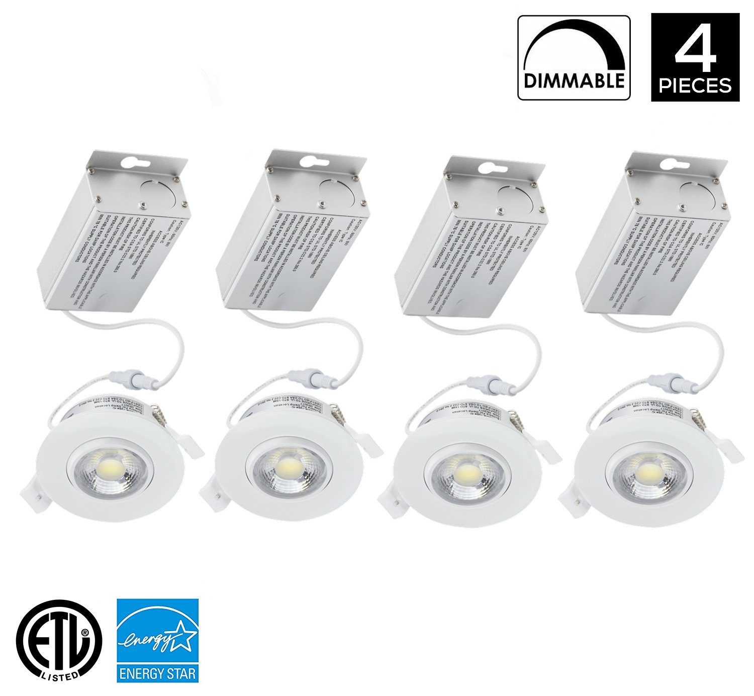4Pack 8W 3 inch Gimbal Dimmable LED Downlight, IC Rated, No Can Needed, Directional Adjustable, Recessed Lighting Fixture (65W Replacement) 3000K Warm White Energy Star LED Ceiling Light 750 Lumens