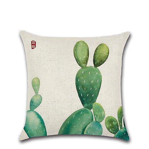 Excelsio Cactus Series - Funda de cojín con diseño de cactus color verde para sofá, cama, salón, dormitorio, como decoración del hogar, tamaño ...