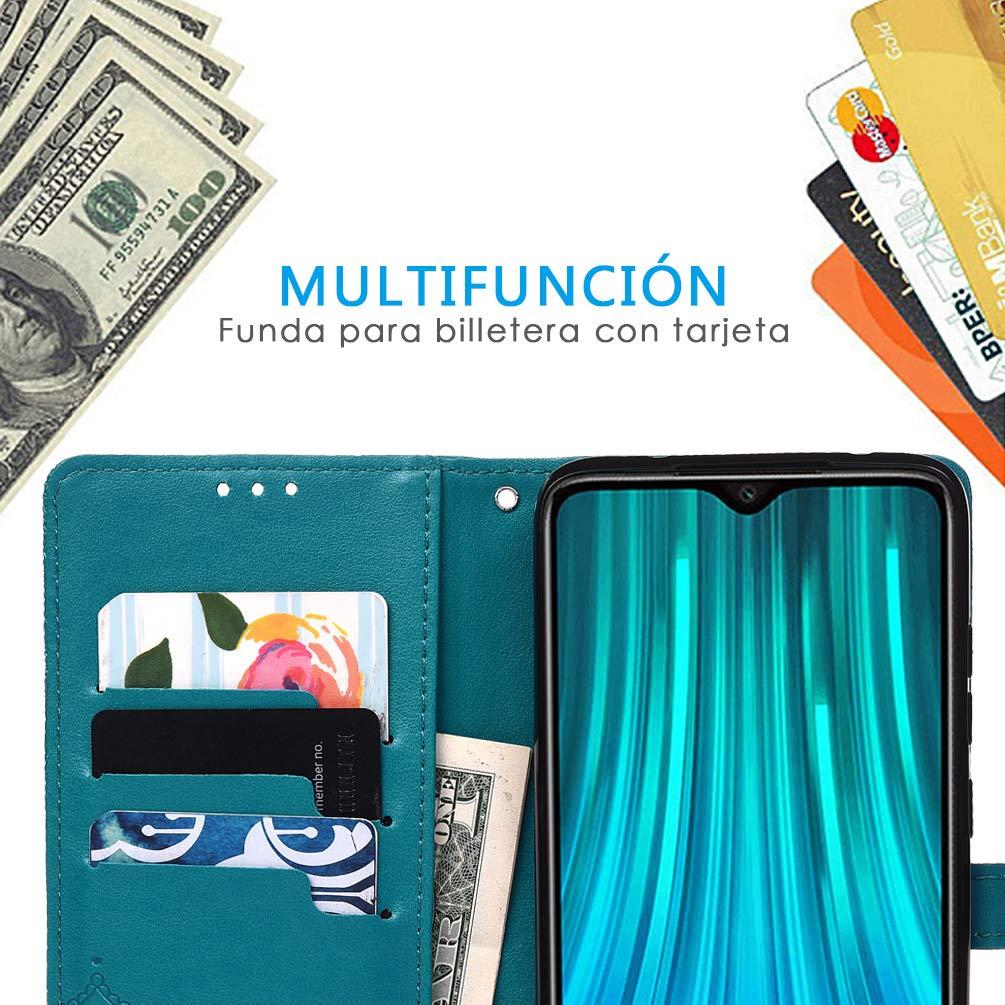Carcasa PU Leather con TPU Silicona Case Interna Suave Azul MUSESHOP para Xiaomi Redmi Note 8 Pro Funda Libro Estuche de Cuero Estampado Mandala Libro de Cuero con Tapa y Cartera