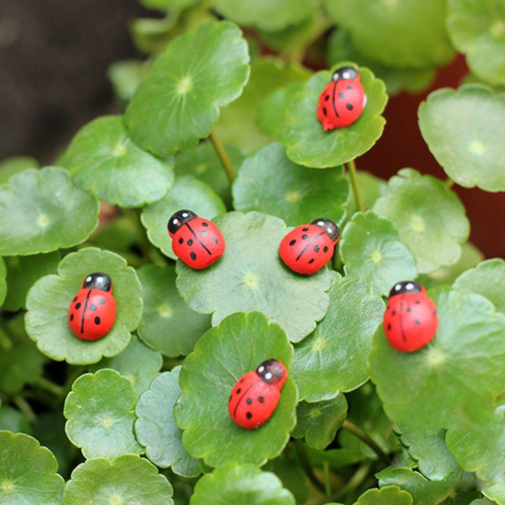 JAGETRADE 1 Set(10Pieces) Garden Tools 10Pieces Mini Ladybird Red Beetle Ladybug Fairy Doll House Garden Decor Ornament