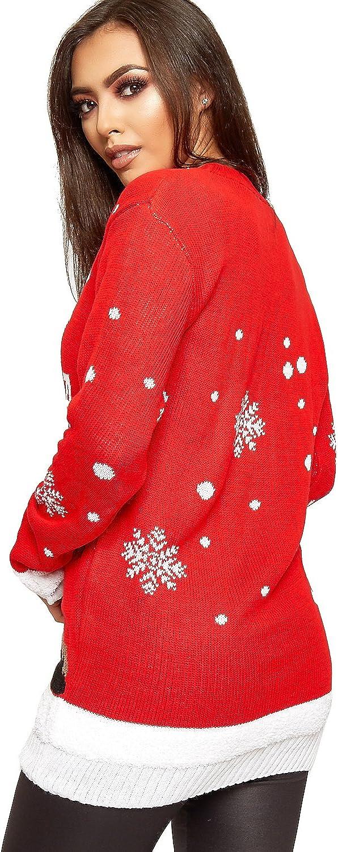 WearAll Womens Knitted Merry Christmas Xmas Snowflake Ladies Reindeer Pom Jumper 12-24