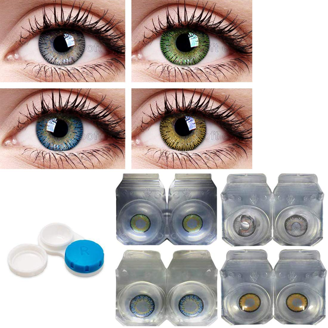 Buy Soft Eye Combo Pack Of 4 Pairs Of Monthly Color Contact Lenses Green Grey Blue Hazel Zero Power Lenses Only With Case Solution Online At Low Prices In India