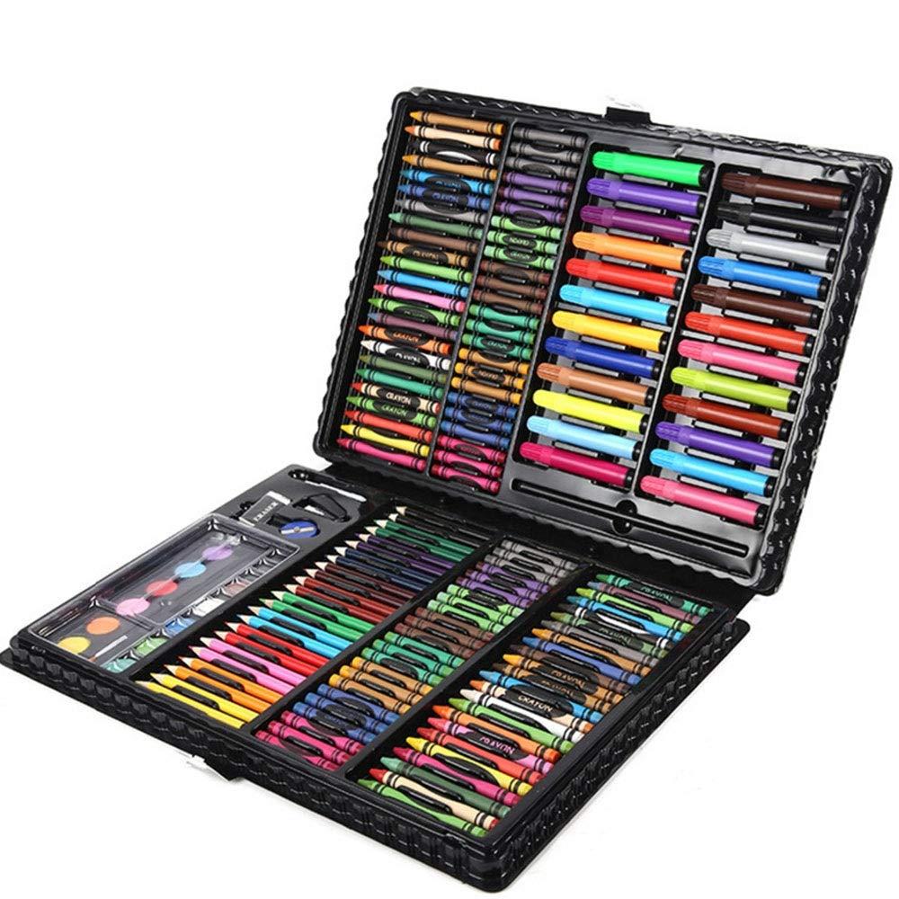 Chengzuoqing Set da coloreare Set di Oggetti per Bambini 168 Pezzi Set di Articoli per la cancelleria per Ragazzi per Bambini Set Regalo d'Arte per Bambini e Bambini (Colore   nero, Dimensione   Free Dimensione)