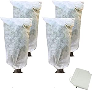 Lesiyou 4 Packs Reusable Plant Covers with Drawstring for Winter Frost Protection, 31.5x23.5 Inch, White