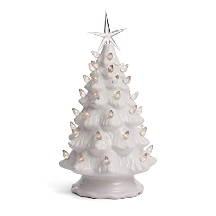 Ceramic Christmas Tree With Lights.Milltown Merchants Ceramic Christmas Tree Tabletop Christmas Tree Lights 11 5 Medium White Christmas Tree White Lights Lighted Vintage