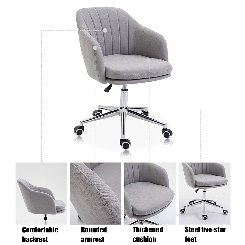 Swivel dator kontor skrivbordsstol modern justerbar ergonomisk kontorsstol mellanrygg flanell datorstol korsryggsstöd gUL
