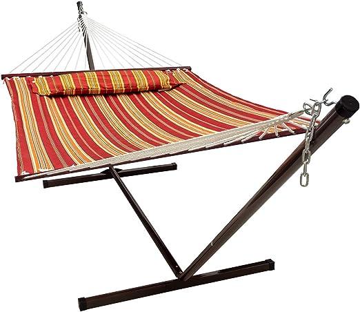 VITA5 Hamaca Soporte. Dimensiones: 190 x 140. Caben hasta 2 Personas/ 200 Kg. Dispone de una Almohada extraíble. Resistente a la Intemperie y los Rayos UV (Rojo/Marrón): Amazon.es: Jardín