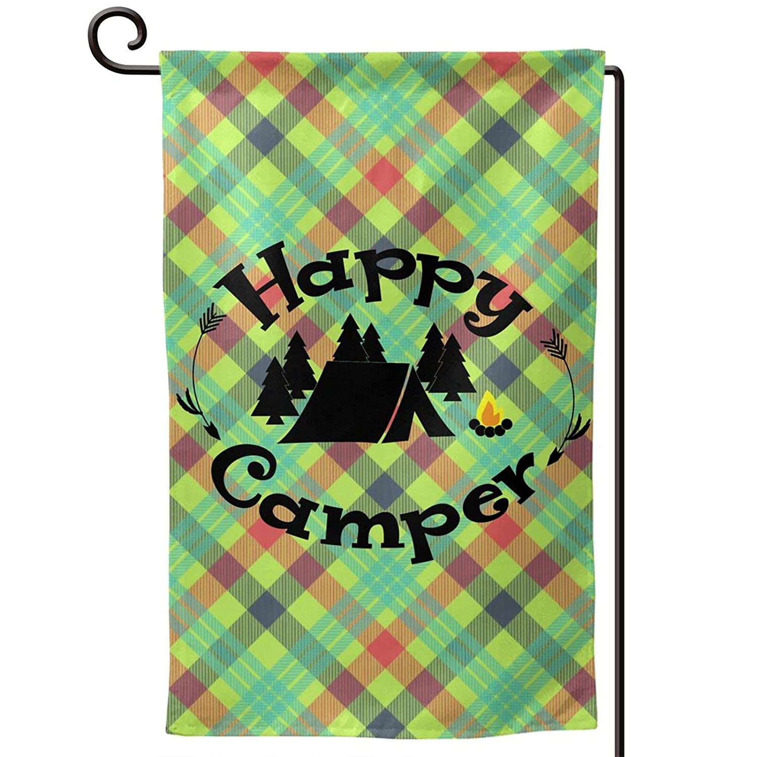 Happy Camper Garden Flags 12x18 Double Sided Spring Summer Outdoor Interior Decoration Banner