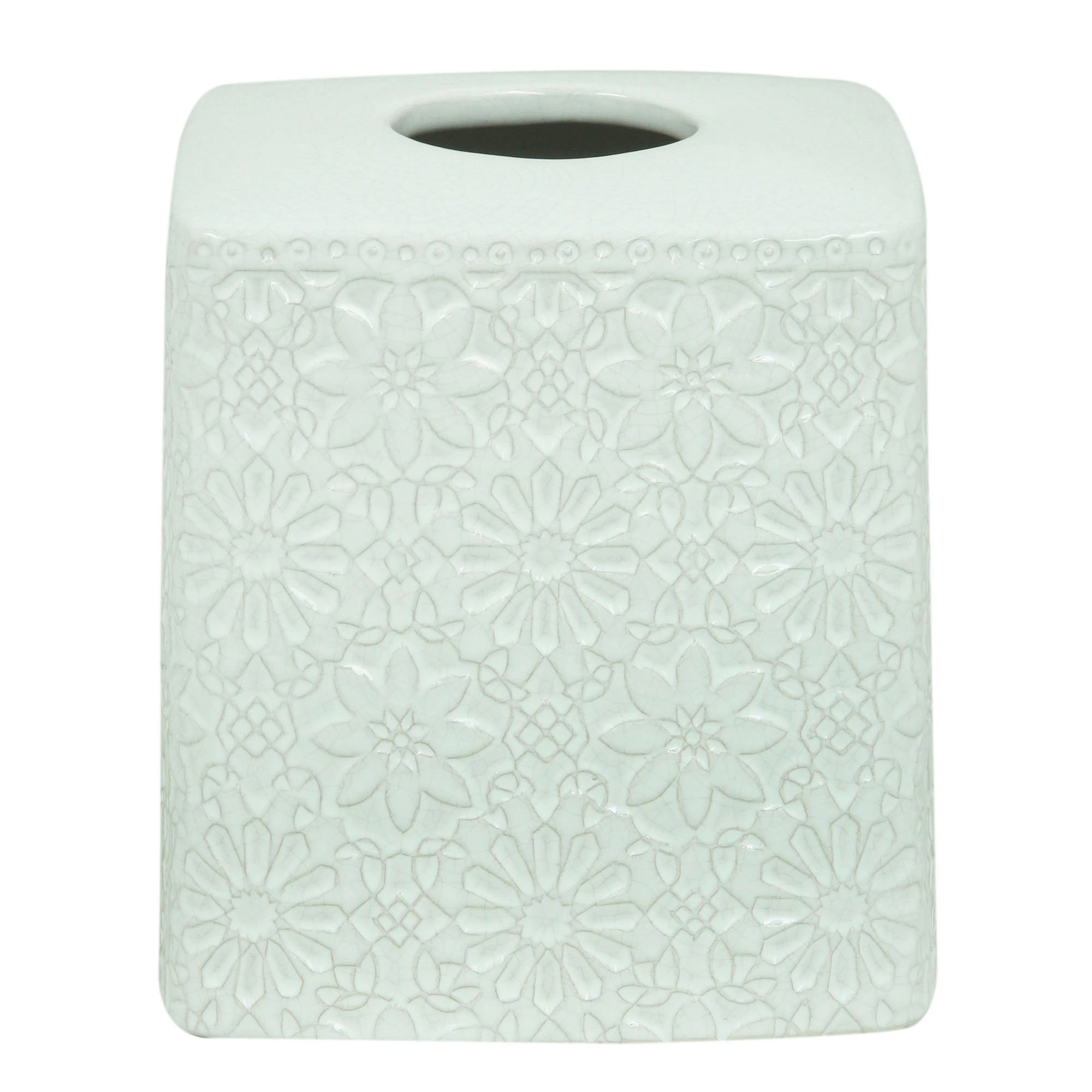 Bacova Guild Jessica Simpson Tissue Cube, Bonito White by Bacova Guild